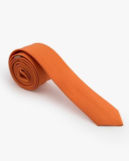 کراوات نارنجی ساتن ساده - نارنجی تیره