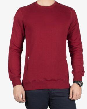 بلوز مردانه قرمز آستین بلند - عنابی - رو به رو