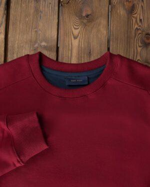 بلوز مردانه قرمز آستین بلند - عنابی - یقه گرد