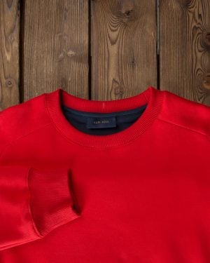بلوز مردانه قرمز آستین بلند - قرمز - یقه گرد