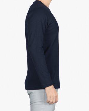 تی شرت آستین بلند مردانه سرمه ای - سرمه ای تیره - بغل