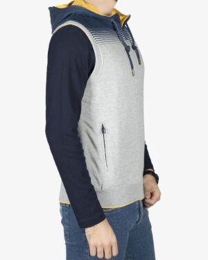 سویشرت بدون آستین اسپرت کلاه دار مردانه - ملانژ - بغل