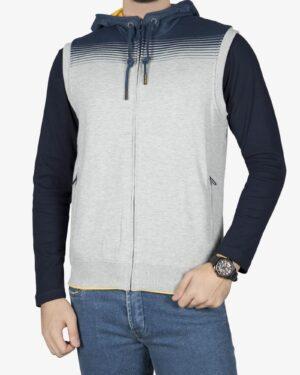 سویشرت بدون آستین اسپرت کلاه دار مردانه - ملانژ - رو به رو