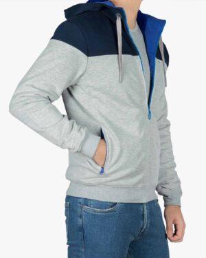 سویشرت کلاه دار مردانه ملانژ - سرمه ای - بغل