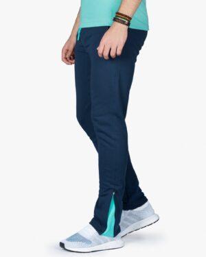شلوار اسلش ورزشی مردانه سرمه ای - سبز آبی روشن - بغل