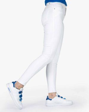 شلوار جین سفید جذب زنانه - سفید - بغل