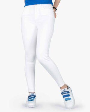 شلوار جین سفید جذب زنانه - سفید - رو به روشلوار جین سفید جذب زنانه - سفید - رو به رو