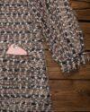 مانتو بافت پاییزه زنانه کوتاه جلو باز - هلویی سیر - جیب