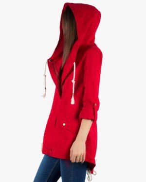 مانتو کوتاه کلاه دار پاییزه - قرمز - بغل