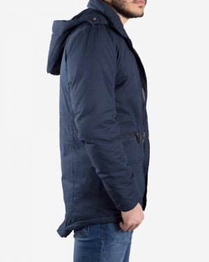 کاپشن مردانه کلاه دار یقه ایستاده - سرمه ای - بغل