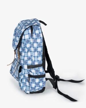 کوله پشتی چهارخونه آبی سفید - نیلی - بغل