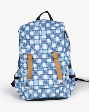 کوله پشتی چهارخونه آبی سفید - نیلی - رو به رو