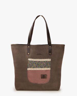 کیف دوشی جیر زنانه - دارچینی - رو به رو