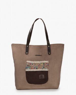 کیف دوشی جیر زنانه - قهوه ای روشن - رو به رو