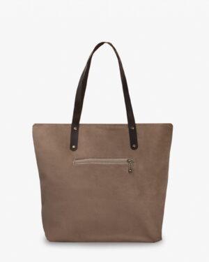 کیف دوشی جیر زنانه - قهوه ای روشن - پشت