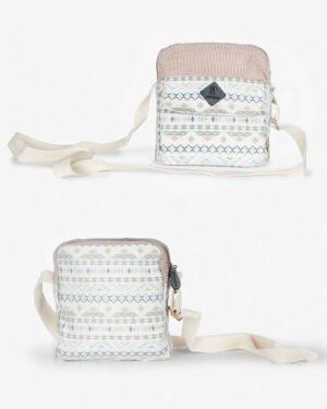 کیف دوشی زنانه سفید طرح دار - شیری - رو به رو