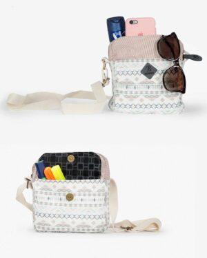 کیف دوشی زنانه سفید طرح دار - شیری - ظرفیت