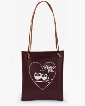 کیف دوشی زنانه طرح قلب - عنابی - رو به رو