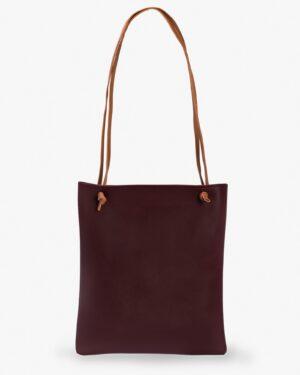 کیف دوشی زنانه طرح قلب - عنابی - پشت