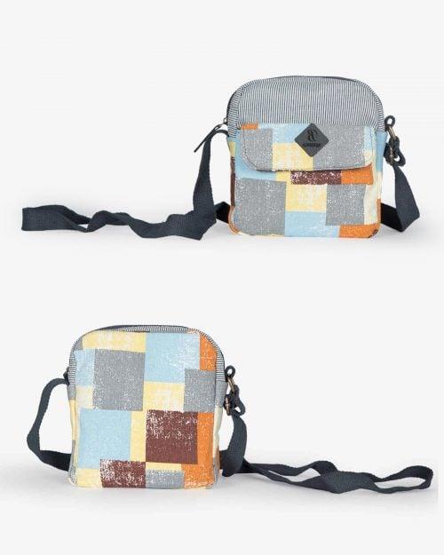 کیف دوشی زنانه طرح مربع - لیمویی - رو به رو پشت