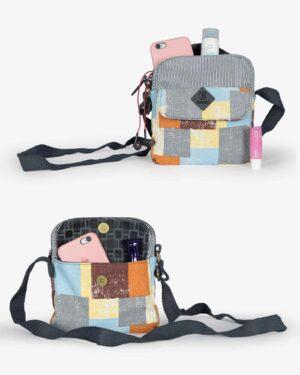کیف دوشی زنانه طرح مربع - لیمویی - ظرفیت