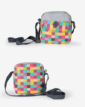 کیف دوشی زنانه چهارخانه رنگی طرح bereshka - فیروزه ای - رو به رو