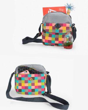 کیف دوشی زنانه چهارخانه رنگی طرح bereshka - فیروزه ای - ظرفیت