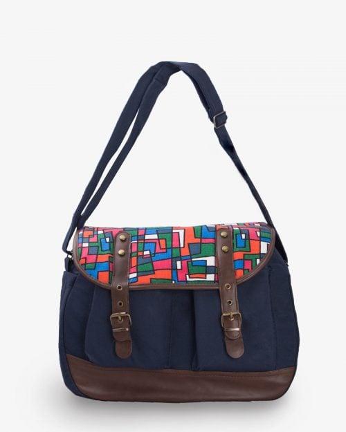 کیف دوشی زنانه کتان طرح دار سرمه ای - سرمه ای تیره - رو به رو