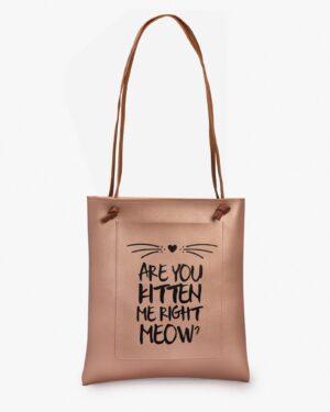 کیف دوشی طرح گربه زنانه بژ - بژ - رو به رو