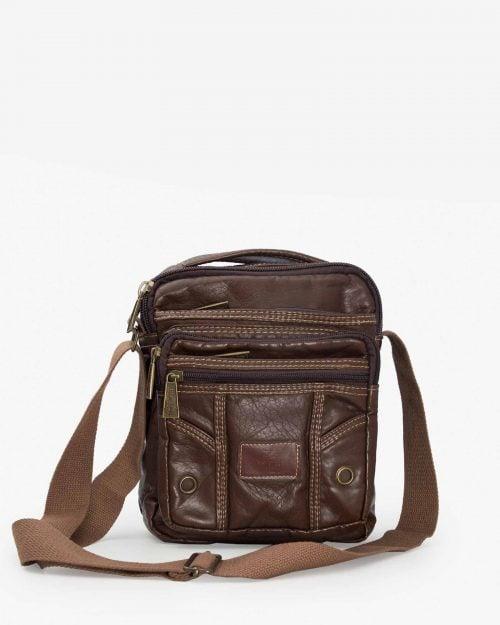 کیف دوشی مردانه چرم قهوه ای تیره - قهوه ای تیره - رو به رو