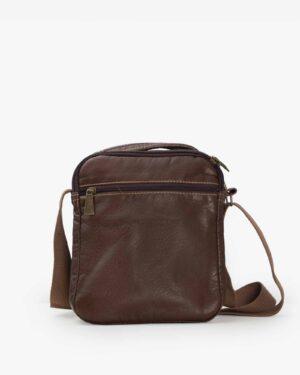 کیف دوشی مردانه چرم قهوه ای تیره - قهوه ای تیره - پشت