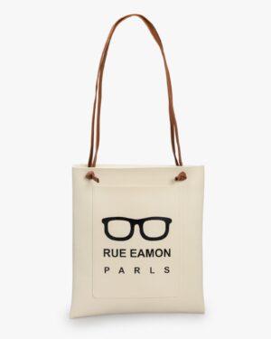 کیف زنانه دوشی شیری چرم مصنوعی - شیری - رو به رو
