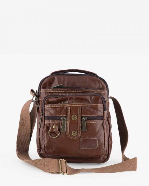 کیف چرم مردانه دوشی قهوه ای - قهوه ای - رو به رو