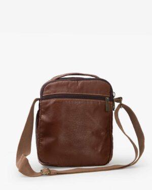 کیف چرم مردانه دوشی قهوه ای - قهوه ای - پشت