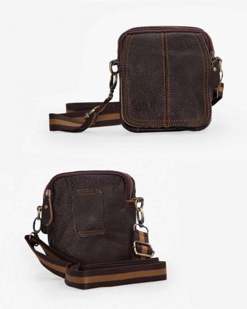 کیف چرم مردانه کمری قهوه ای - قهوه ای تیره - جلو پشت