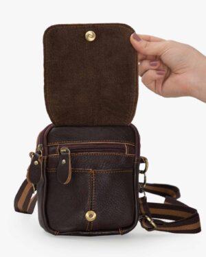 کیف چرم مردانه کمری قهوه ای - قهوه ای تیره - جیب