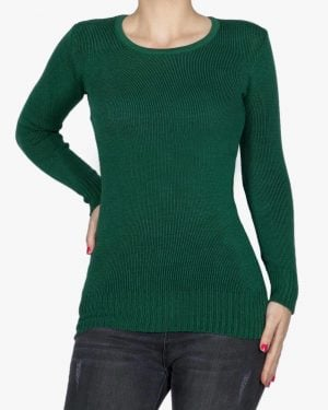 بلوز بافت زنانه ساده - سبز تیره - رو به رو