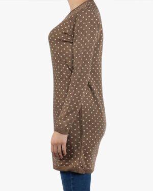 تونیک زنانه بافت یقه گرد طرح مربع - قهوه ای روشن - بغل