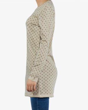 تونیک زنانه بافت یقه گرد طرح مربع - کرم - بغل