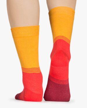 جوراب اسپرت رنگی طرح دار کشی - نارنجی - پشت