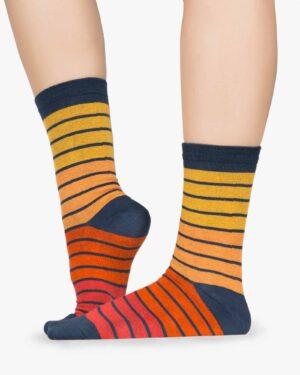 جوراب راه راه رنگی ساق دار - نارنجی تیره - بغل