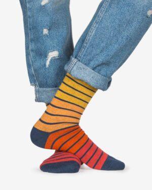 جوراب راه راه رنگی ساق دار - نارنجی تیره - رو به رو