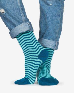 جوراب راه راه نخی ساق دار - آبی فیروزه ای - رو به رو