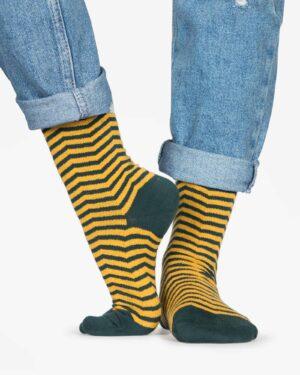 جوراب راه راه نخی ساق دار - خردلی - رو به رو