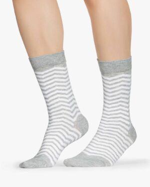 جوراب راه راه نخی ساق دار - سفید - بغل