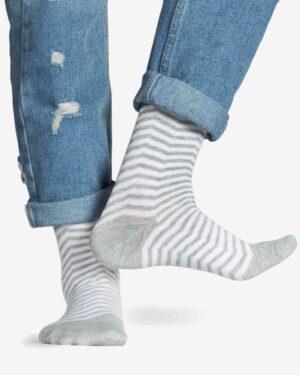 جوراب راه راه نخی ساق دار - سفید - رو به رو
