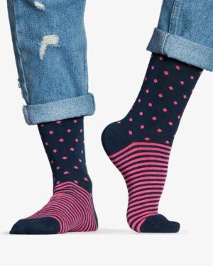 جوراب راه راه کشی طرح نقطه - سرخابی - رو به رو