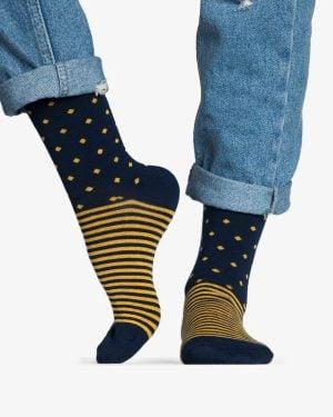 جوراب راه راه کشی طرح نقطه - عسلی - رو به رو
