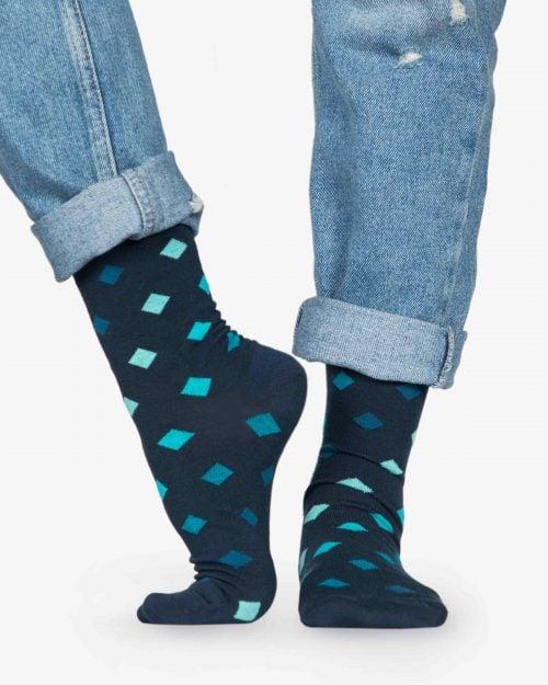 جوراب طرح لوزی ساق دار نخی - سبز آبی روشن - بغل