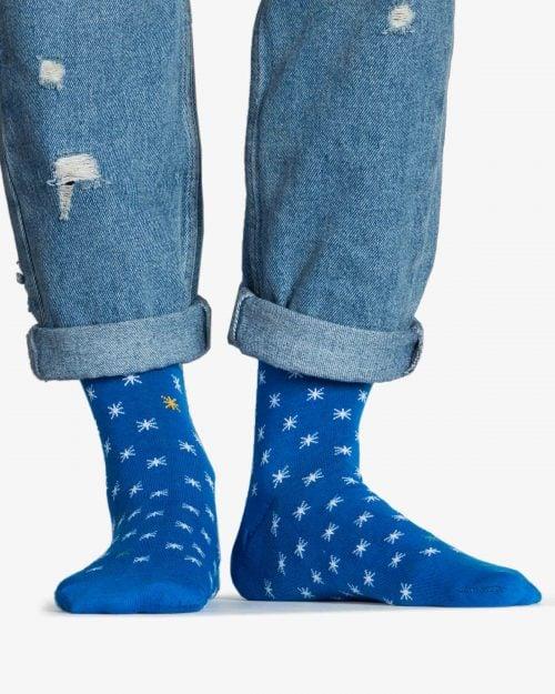 جوراب نخی ساق دار طرح ستاره - آبی - رو به رو